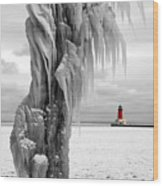 Beyond The Ice Reaper's Grasp -  Menominee North Pier Lighthouse Wood Print