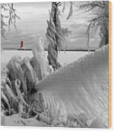 Beyond The Icy Gate - Menominee North Pier Lighthouse Wood Print