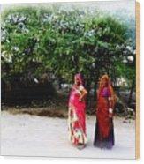 Bff Best Friends Pregnant Women Portrait Village Indian Rajasthani 1 Wood Print