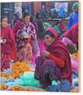 Bhaktapur Holi Market Wood Print