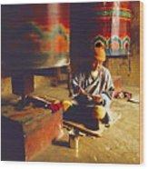 Bhutan Pilgrim Wood Print
