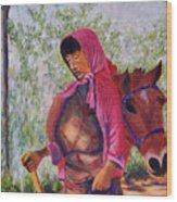 Bhutan Series - Woman With The Horse Wood Print