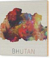 Bhutan Watercolor Map Wood Print