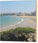 Biarritz Beach Panorama Wood Print