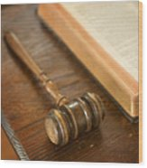 Bible And Gavel Wood Print