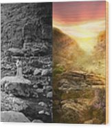 Bible - Psalm 23 - Yea, Though I Walk Through The Valley 1920 - Side By Side Wood Print