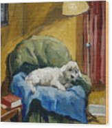 Bichon Frise On Chair Wood Print by Thor Wickstrom