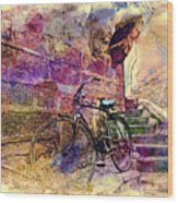 Bicycle Abandoned In India Rajasthan Blue City 1a Wood Print
