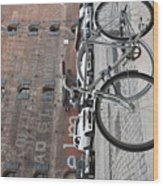Bicycle And Building Wood Print