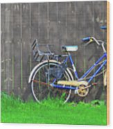 Bicycle And Gray Fence Wood Print