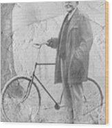 Bicycle And Jd Rockefeller Vintage Photo Art Wood Print
