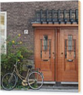 Bicycle And Wooden Door Wood Print