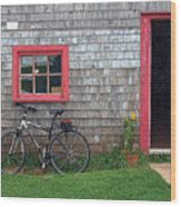 Bicycle At Barn Wood Print