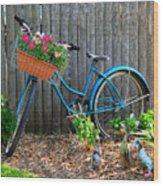 Bicycle Garden Wood Print