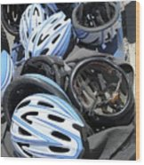 Bicycle Helmets Wood Print by Photostock-israel