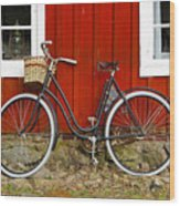 Bicycle In Front Of Red House In Sweden Wood Print