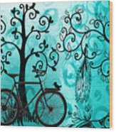 Bicycle In Whimsical Forest Wood Print