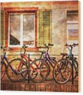 Bicycle Line-up Wood Print