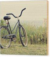 Bicycle On Beach Summer's On The Coast Wood Print