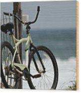 Bicycle On The Beach Wood Print by Julie Niemela