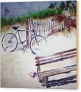 Bicycle On The Beach Wood Print