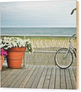 Bicycle On The Ocean City New Jersey Boardwalk. Wood Print