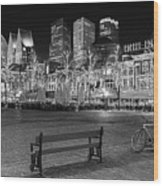 Bicycle On The Plein At Night - The Hague  Wood Print