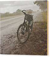 Bicycle On The Road In Botswana Wood Print