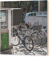 Bicycle Parking And Smoking Station In Tokyo Japan Wood Print