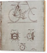 Bicycle Patent Drawing 4a Wood Print