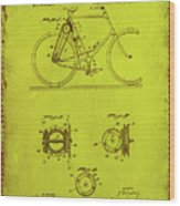 Bicycle Patent Drawing 4d Wood Print