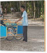 Bicycle Taxi Inside The Coba Ruins  Wood Print