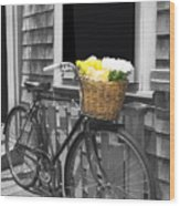 Bicycle With Flower Basket Wood Print