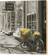 Bicycle With Flowers - Nantucket Wood Print