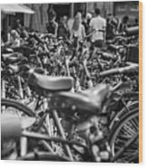 Bicycles Amsterdam Black And White Wood Print