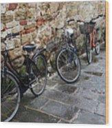 Bicycles In Rome Wood Print