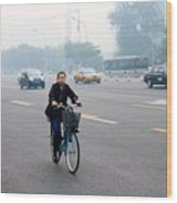 Bicyclist In Beijing Wood Print