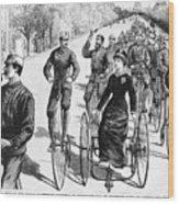 Bicyclist Meeting, 1884 Wood Print