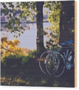 Bicyles By The Lake  Wood Print