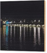 Bideford Long Bridge At Night Wood Print