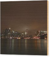 Big Apple Lights Wood Print