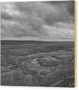 Big Badlands Overlook Panorama 2 Bw Wood Print
