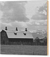 Big Barn In Black And White Wood Print