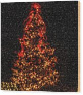 Big Bear Christmas Tree Wood Print