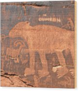 Big Bear Petroglyph Wood Print