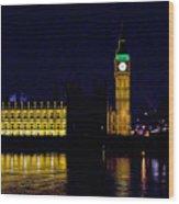 Big Ben Along The Thames Wood Print