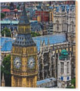 Big Ben And Westminster Abbey Wood Print