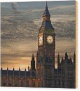 Big Ben At Dusk Wood Print by Martin Howard