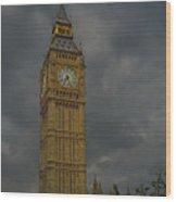 Big Ben During Storm Wood Print