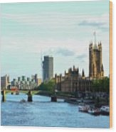 Big Ben, Parliament And River Thames Wood Print
